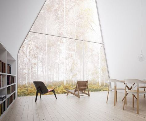 A-frame forest house view