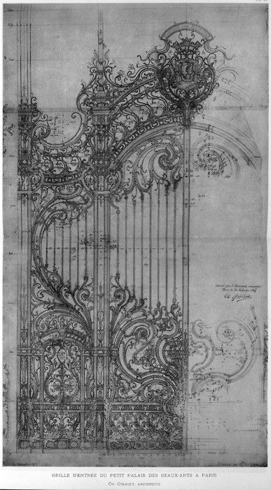 Architectural drawing - Girault's design for the cast iron door of the Petit Palais, Paris