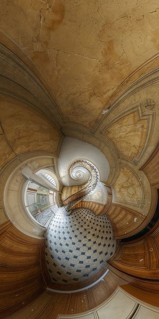 The famous stairs of the Galerie Vivienne, Paris